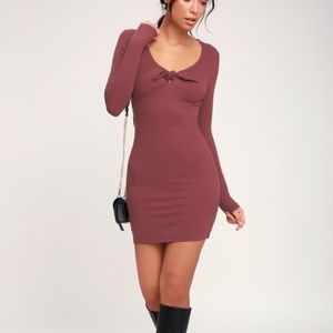 Last One! LULUS Washed Burgundy Ribbed Bodycon